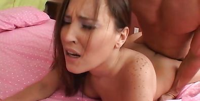 Pretty brunette young Sierra Snow got loads of cum all over her face
